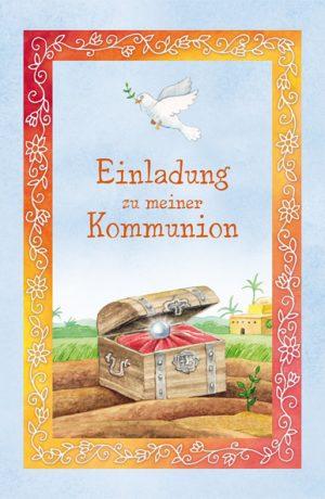 In einem Set mit Lunchservietten, Tischkärtchen und Gästebuch erhältlich, sind die Der größte Schatz der Welt Einladungskarten, perfekt für die Kommunion.