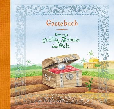 """Erinnerungen auf die man immer gerne zurück denkt bietet das """"Der Größte Schatz der Welt Gästebuch"""" , in welches sich Gäste zur Kommunion eintragen können."""